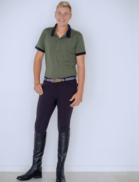 MEN'S PLEAT FRONT NAVY BAMBOO BREECH