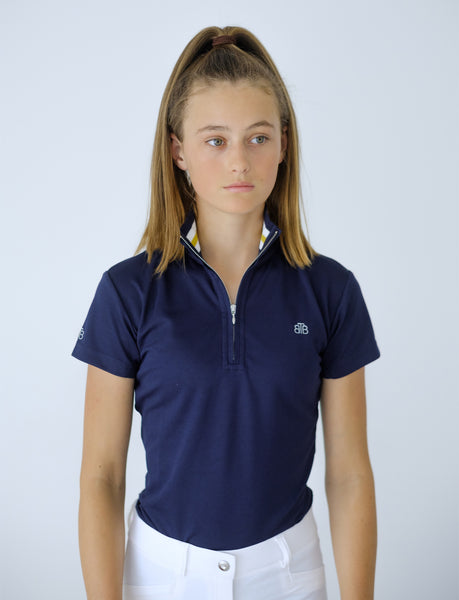 YOUTH RIBBED COLLAR NAVY POLO