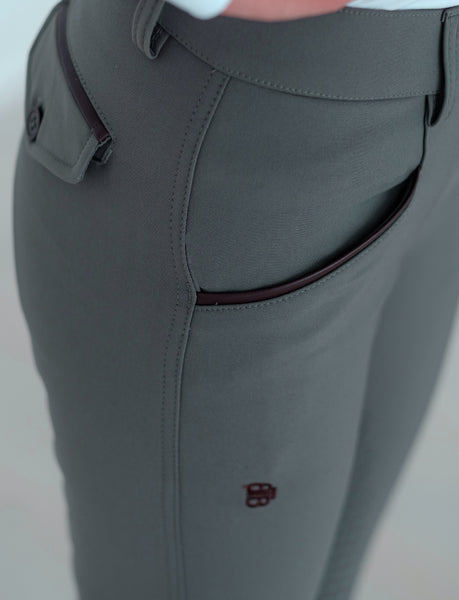 'ARIA' BREECH IN DUSKY GREEN AND NAVY