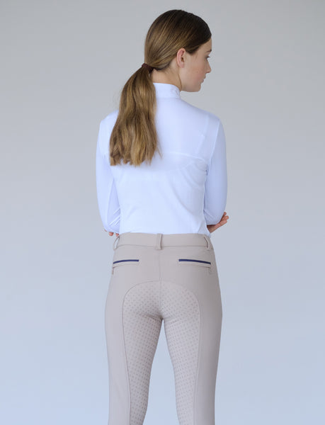 'PORTIA' BEIGE BREECH WITH NAVY TRIM