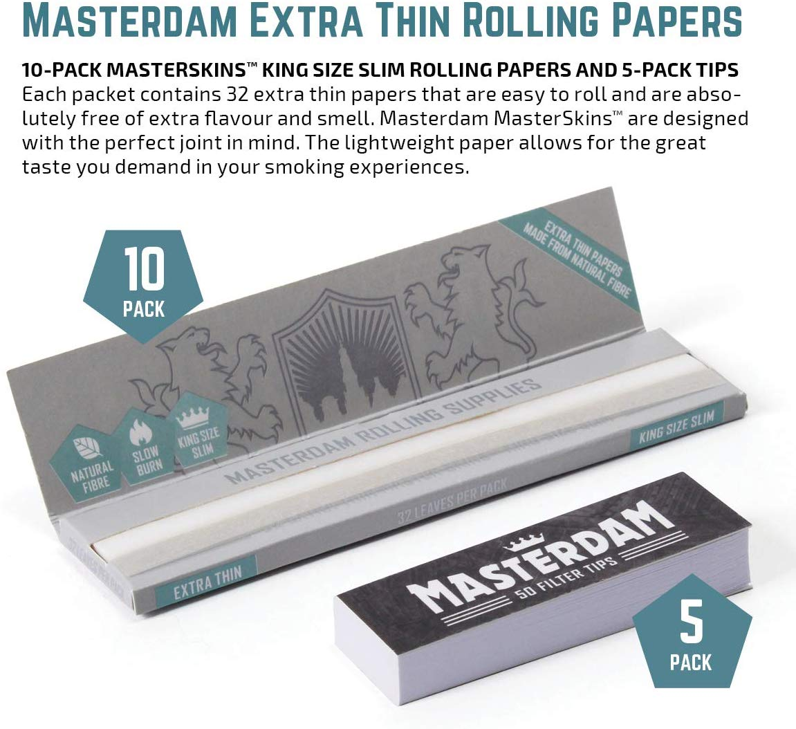 10-Pack - Masterdam Rolling Supplies Rolling Papers + 5-Pack Tips