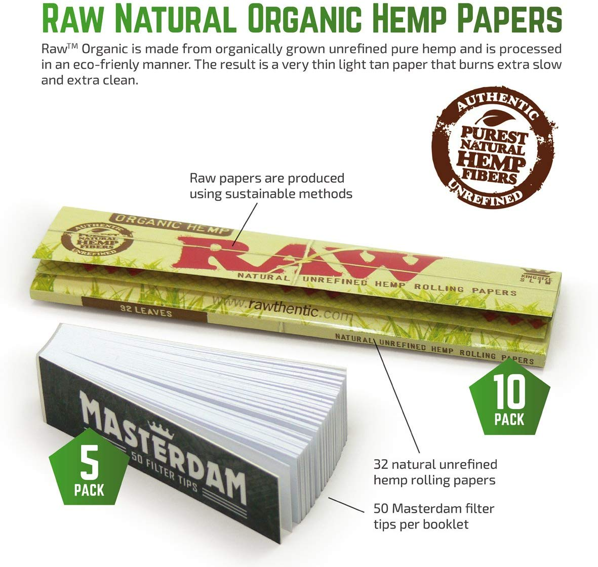 5-Pack - RAW Organic King Size Slim Rolling Papers + Tips