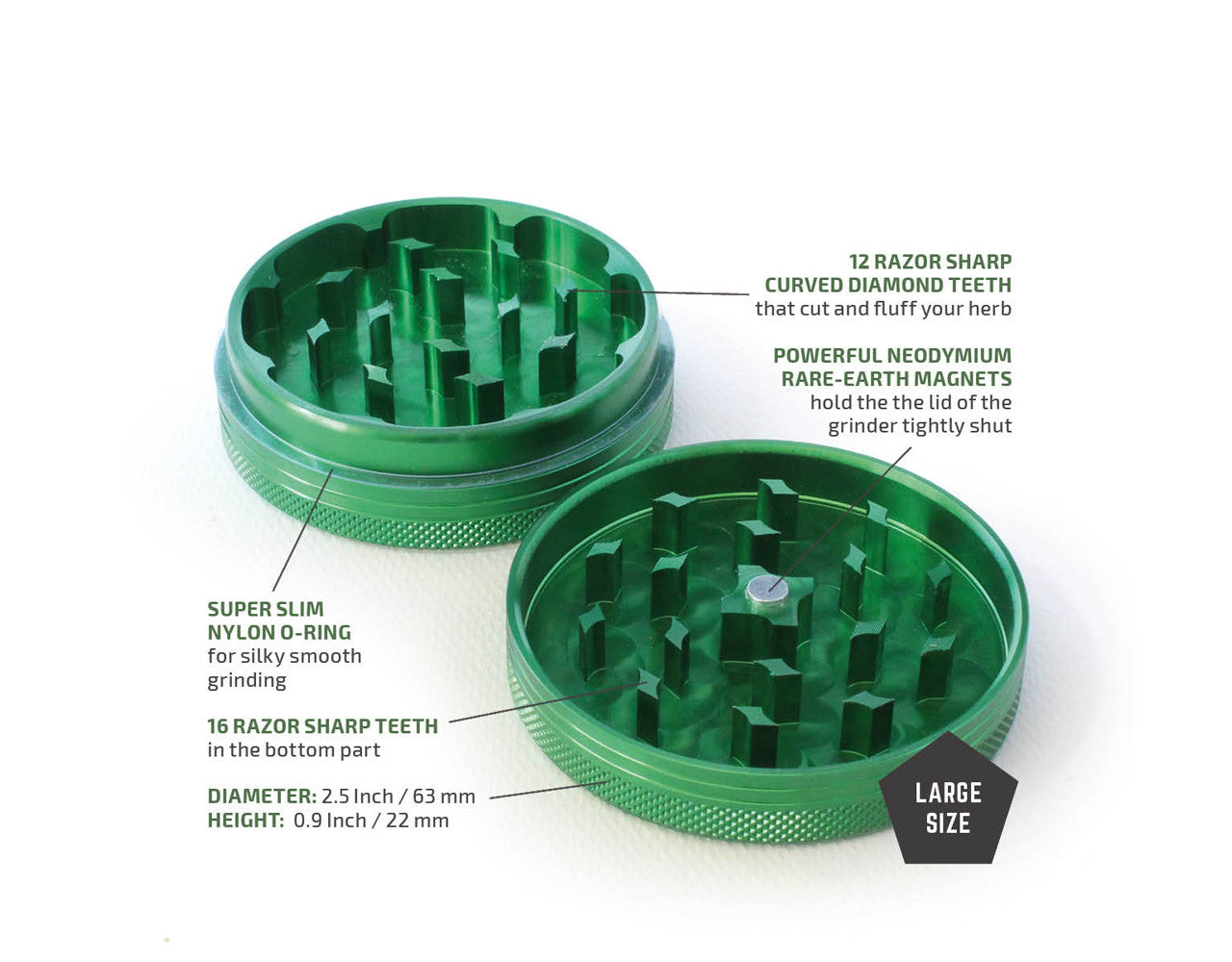 "2-Piece Green Grinder 63mm Large (2.5"")"