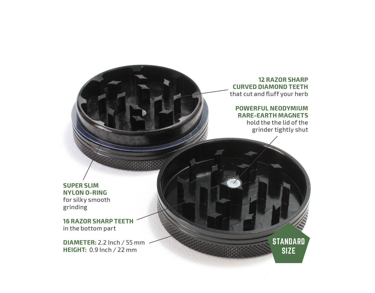 "2-Piece Black Grinder 55mm Standard (2.2"")"