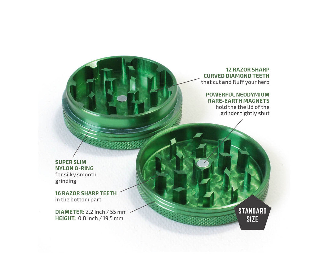 "2-Piece Green Grinder 55mm Standard (2.2"")"