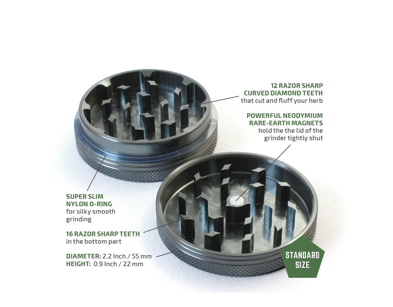 "2-Piece Grey Grinder 55mm Standard (2.2"")"