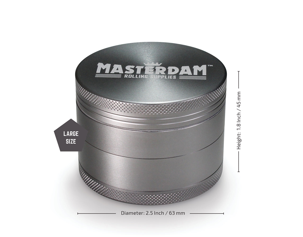 "4-Piece Matte Grey Grinder 63mm Large (2.5"")"