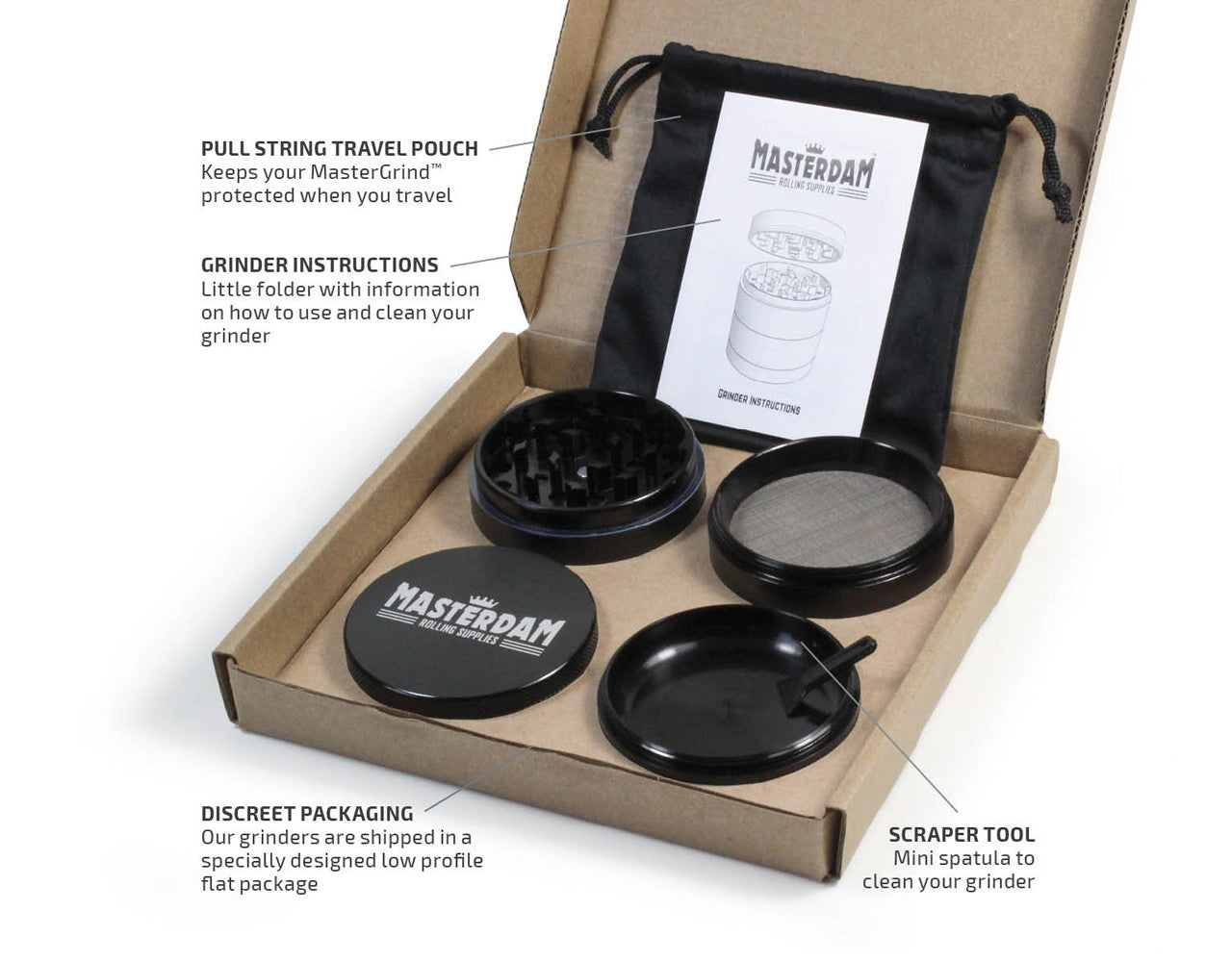"4-Piece Black Grinder 63mm Large (2.5"")"