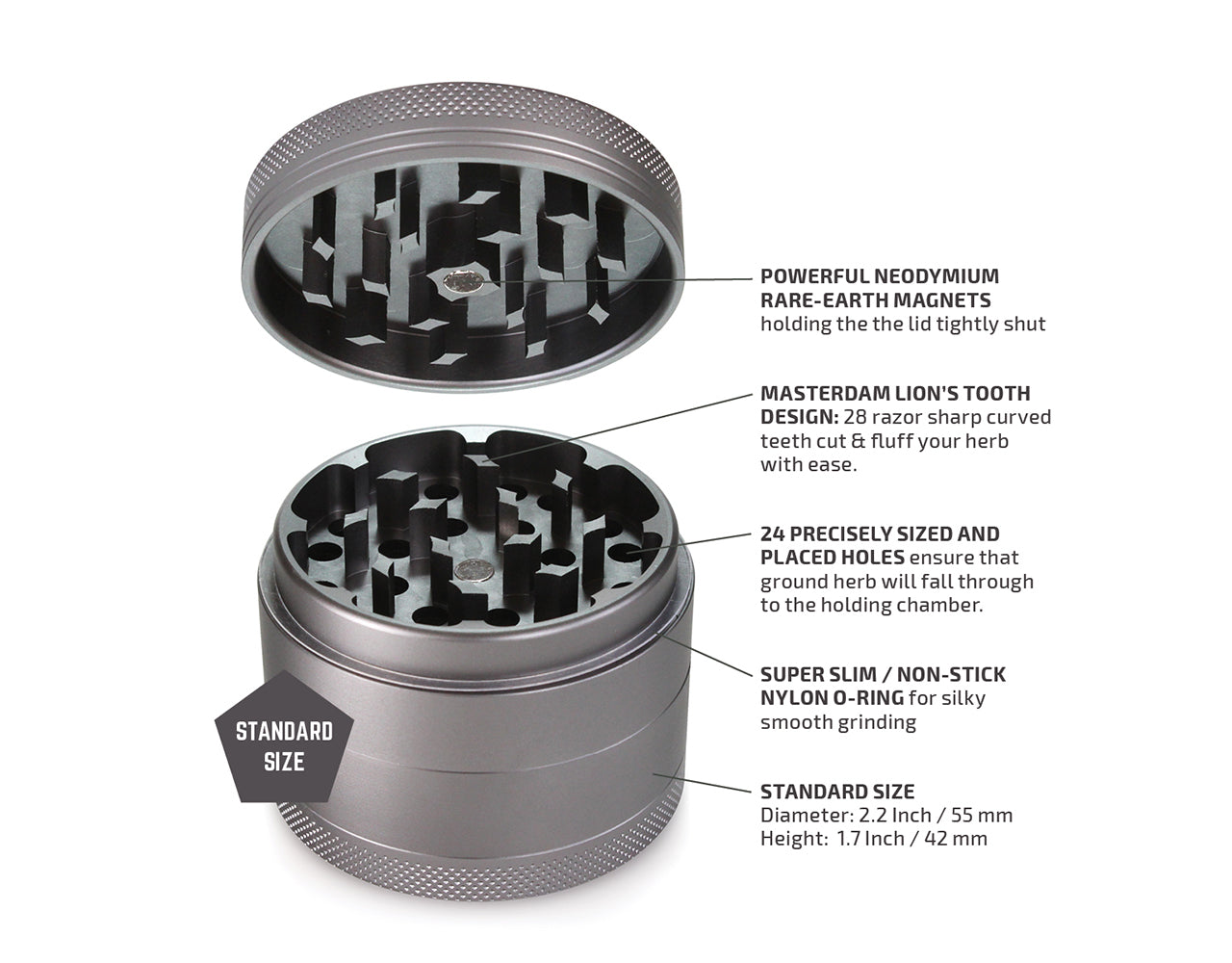 "4-Piece Matte Grey Grinder 55mm Standard (2.2"")"
