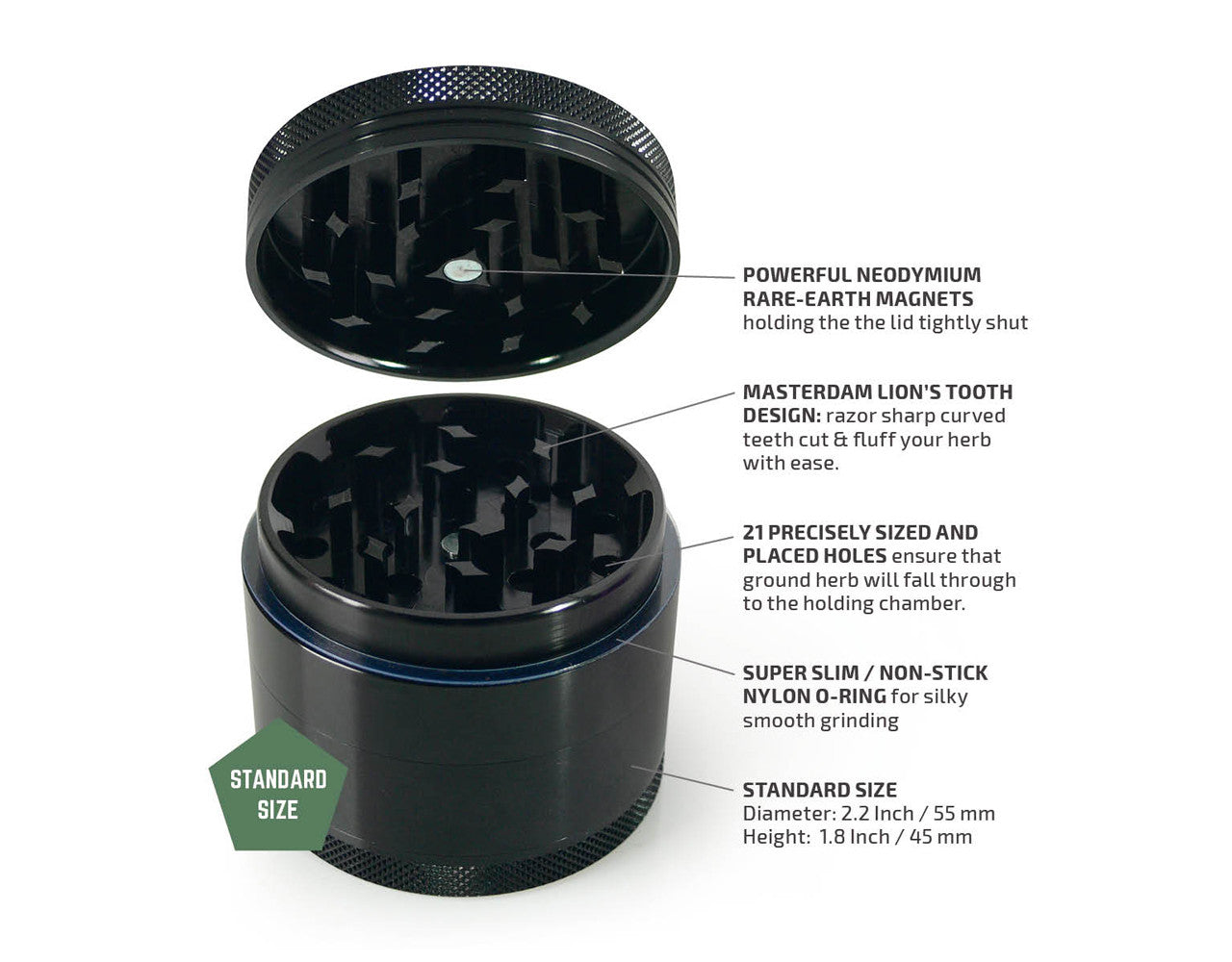 "4-Piece Black Grinder 55mm Standard (2.2"")"