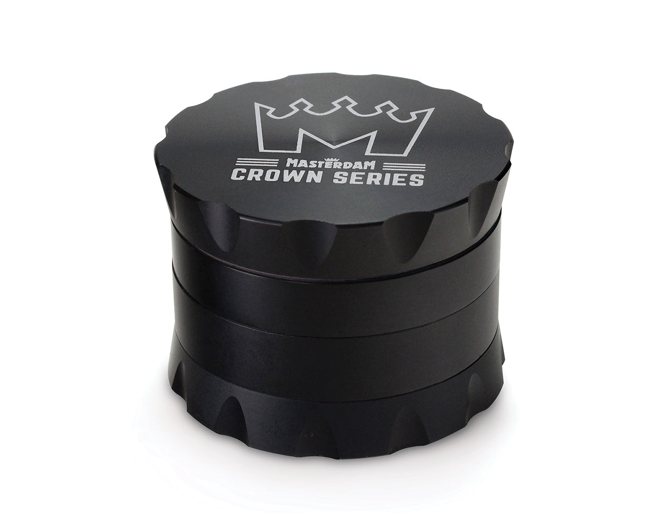 Masterdam Crown Series 2.2 Inch Herb Grinder with Micron Screen - 4-Piece Matte Black