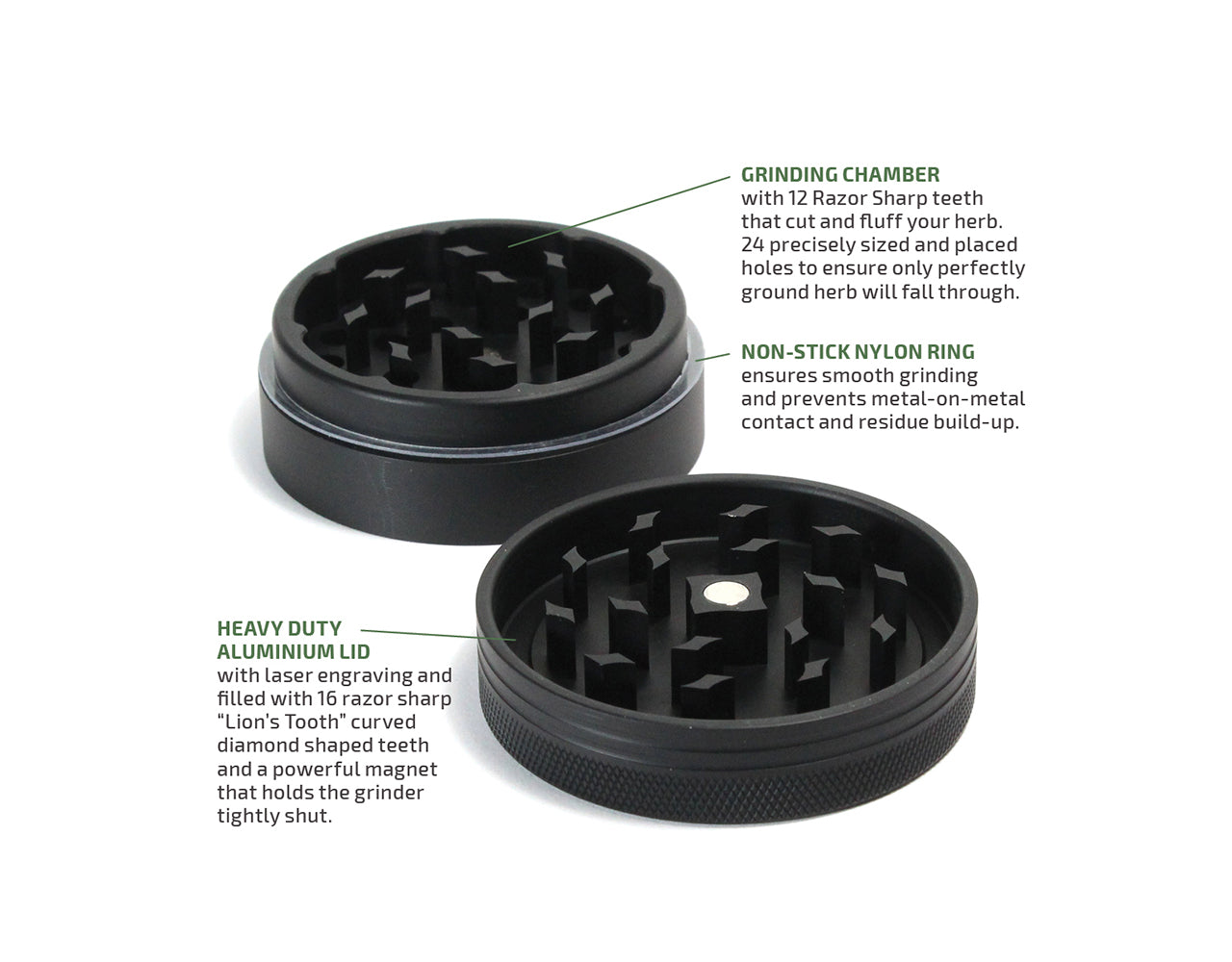 "Window Grinder Matte Black | Standard (55mm / 2.2"")"