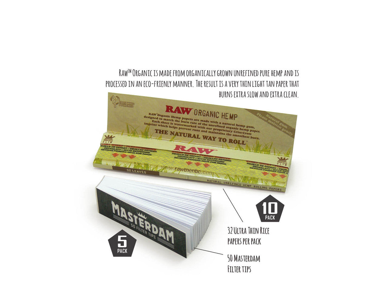 10-Pack - RAW Organic King Size Slim Rolling Papers + Tips