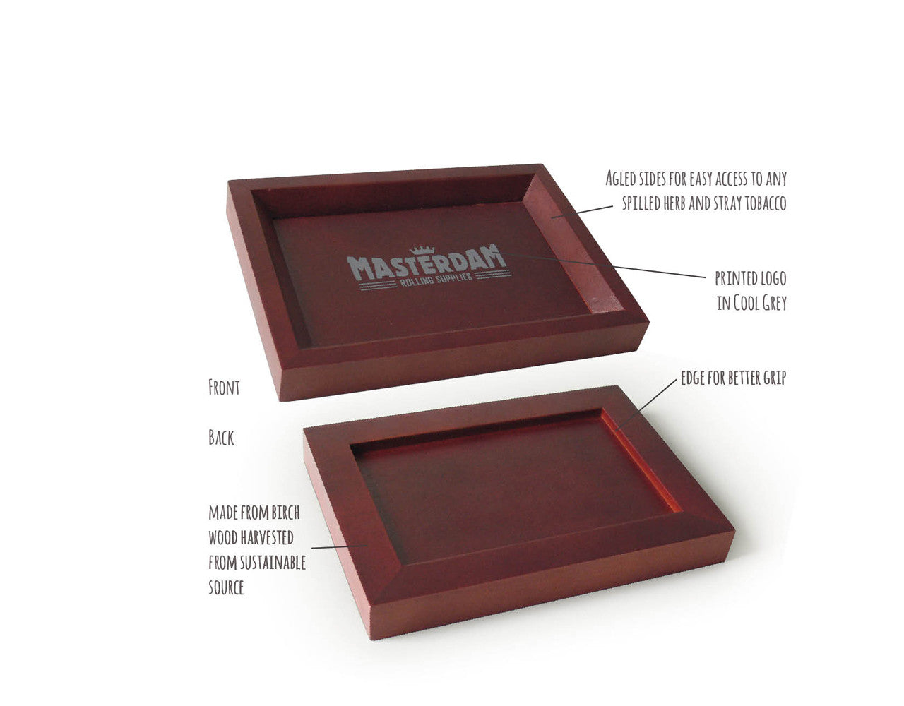 Wooden Rolling Tray - Compact - Light Brown