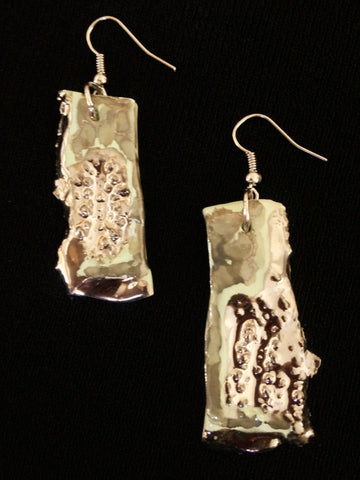 SOLD Seafoam Green & 22kt White Gold Hand Carved Earrings