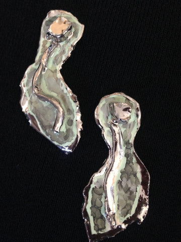 Seafoam Green & 22kt White Gold Abstract Earrings
