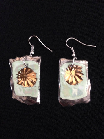 Seafoam Green & 22kt White & Yellow Gold Earrings