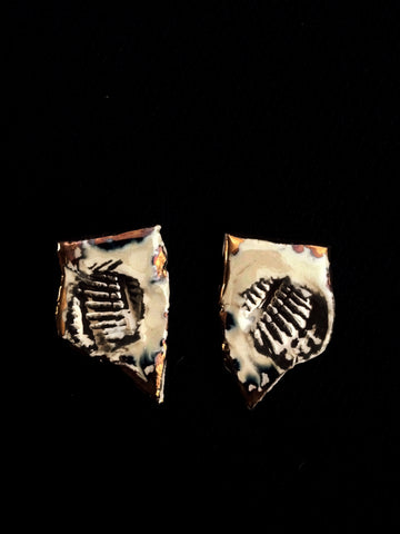 Earrings post Seashell inprint