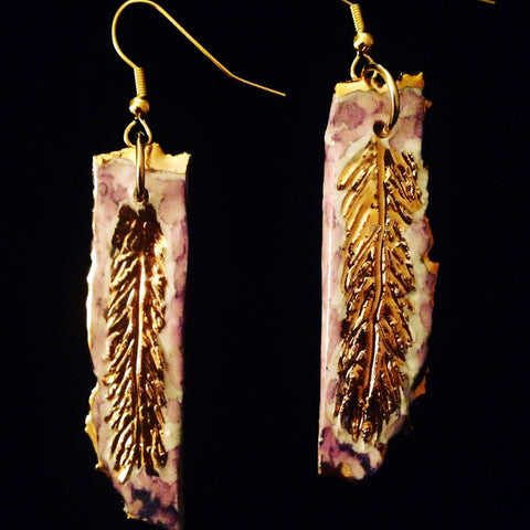 Feather Style hand carved earrings