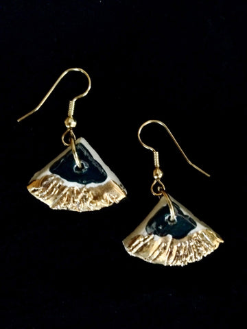 Earrings Teal and 22kt yellow gold