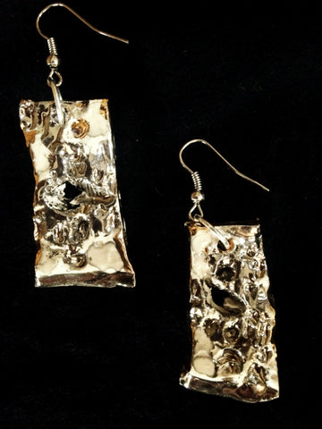 SOLD Earrings 22kt yellow & white gold carved