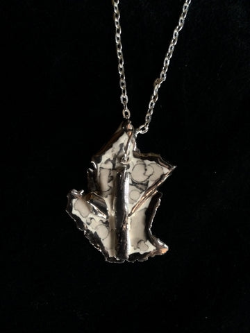 Necklace Hand Carved 22kt White Gold
