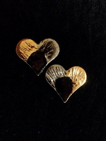 Heart Earrings Hand Carved 22kt Yellow & WhiteGold
