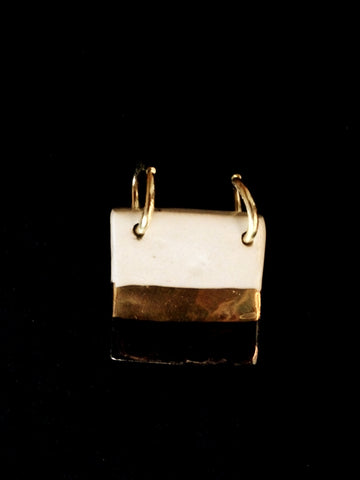 Necklace Hand Carved 22kt Yellow Gold Black and White, Square