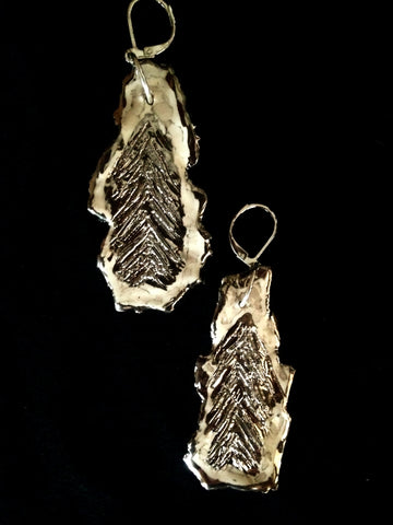 Earrings Hand Carved 22kt White Gold & Marble Feather Look