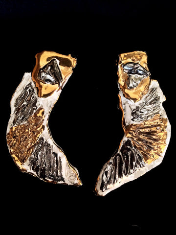 Earrings Hand Carved 22kt White and Yellow Gold