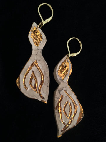 SOLD Earrings Hand Carved Leaf Look 22kt Yellow Gold