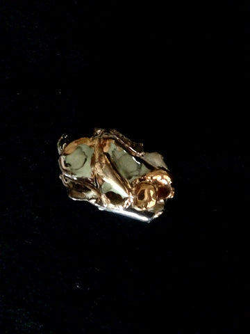 Pin Seafoam Green with 22kt White & Yellow Gold Sculpted