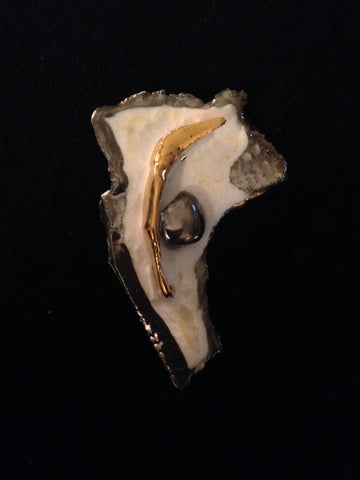 Pin Hand Carved 22kt Yellow & White Gold Overlay Mother of  Pearl