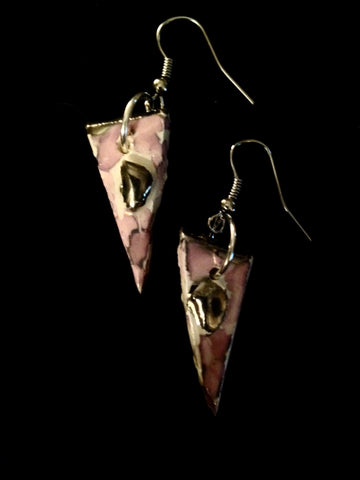SOLD Earrings Lavender Marble effect with 22kt White Gold Triangle