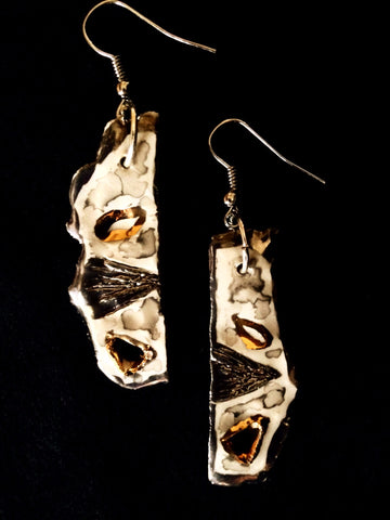 Earrings French Hook 22kt Yellow & Gold Hand Carved