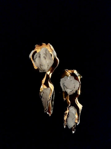Earrings Post 22kt Yellow Gold with Marble Effect Platinum