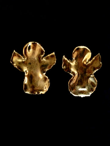 Earrings - Angel Design 22kt Yellow Gold Hand Carved