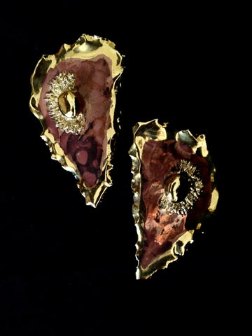 Earrings Large Salmon &  Marble Effect Overlay 22kt Yellow Gold