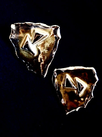 Earrings 22kt Yellow & White Gold Hand Carved Layered