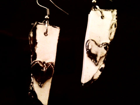 SOLD Earrings Heart on Long Hand Sculpted White and 22kt White Gold