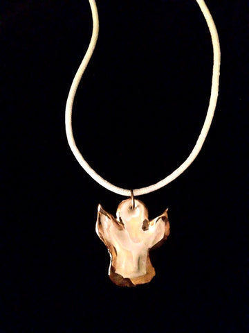 SOLD - Necklace Angel Design Mother of Pearl & 22kt Yellow Gold
