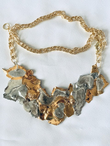 Necklace - Plate Cleopatra Style 22kt White & Yellow golds