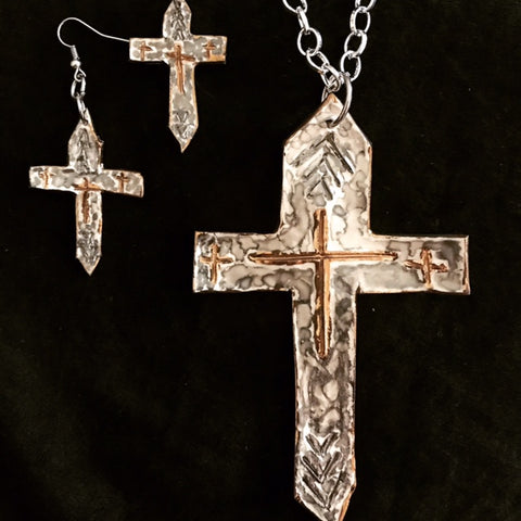 Cross Necklace and Earrings Marbled Platinum with 22kt Yellow Gold