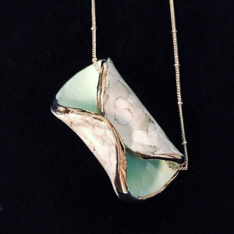 Necklace Folded Seafoam Green with Marbled Platinum
