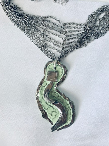Seafoam Green with 22kt White Gold Statement Choker