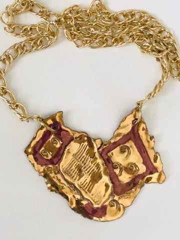 Burgundy Sculpted Necklace with 22kt Gold