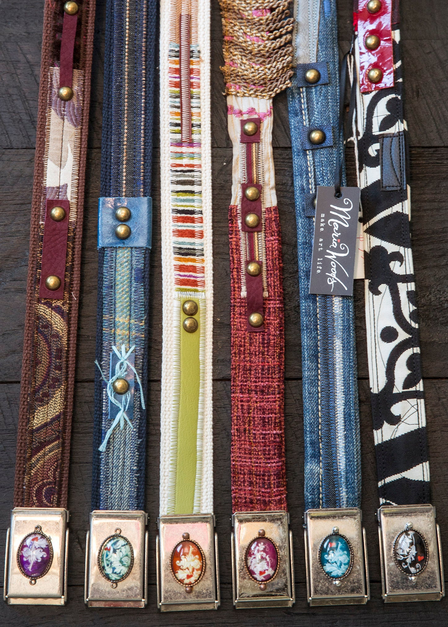 Maria Woods, make art life, jeans belt, one-of-a-kind, handmade