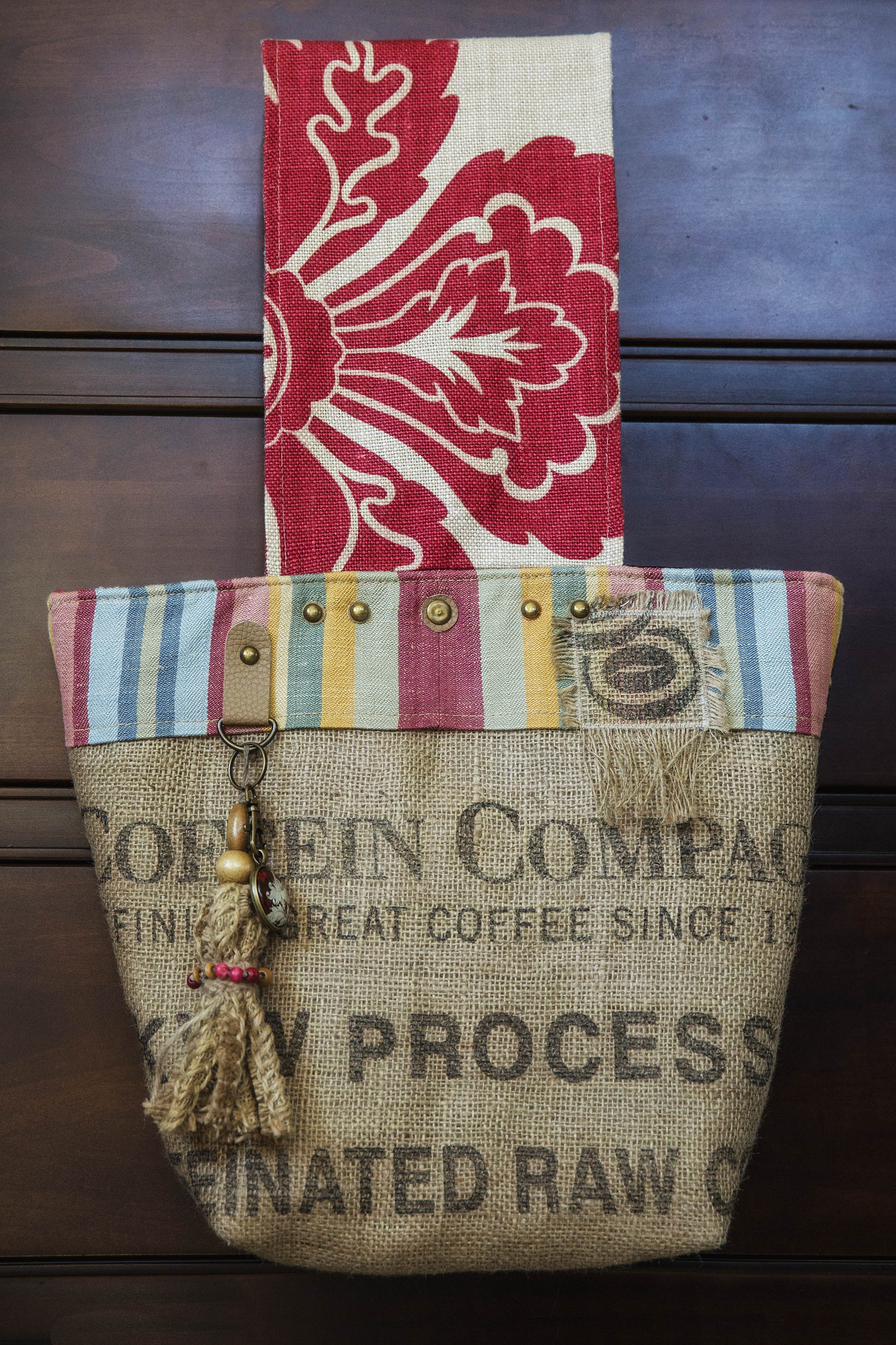Maria Woods, make art life, tote, one-of-a-kind, handmade, coffee sack