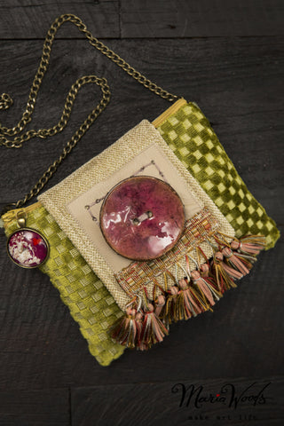 One-of-a-kind clutch/shoulder purse. Wearable art, handmade in chartreuse, ecru and silver luxurious fabrics.