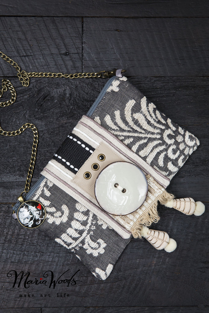 One-of-a-kind clutch/shoulder purse. Wearable art, handmade in grey and cream luxurious fabrics.